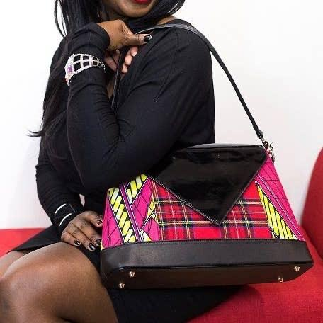 AMMA JO Black Patent Plaid Signature Bag Show Your Africa
