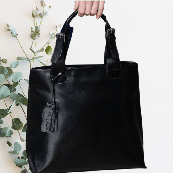 P. Sherrod™ Joan C Leather Classic Tote - Black Bags Faire
