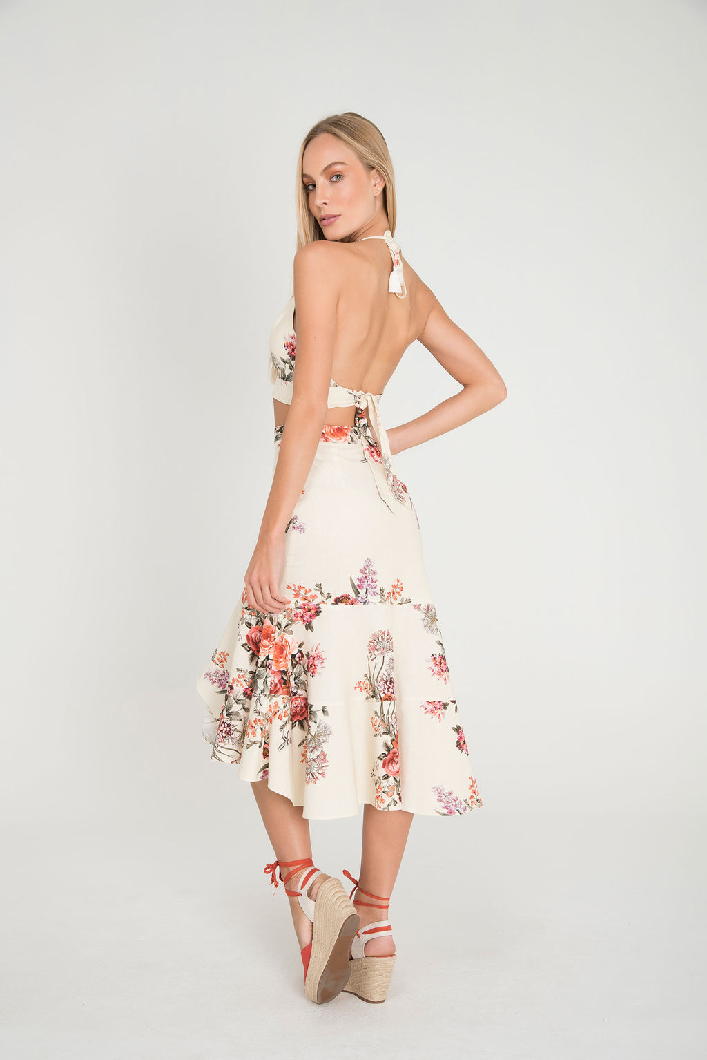 ROSE LACE HALTER CROPED | MIDI SKIRT - LE BAIN RESORTWEAR