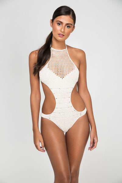 ROSE LACE LUREX CROCHET DOUBLE ONEPIECE - LE BAIN RESORTWEAR