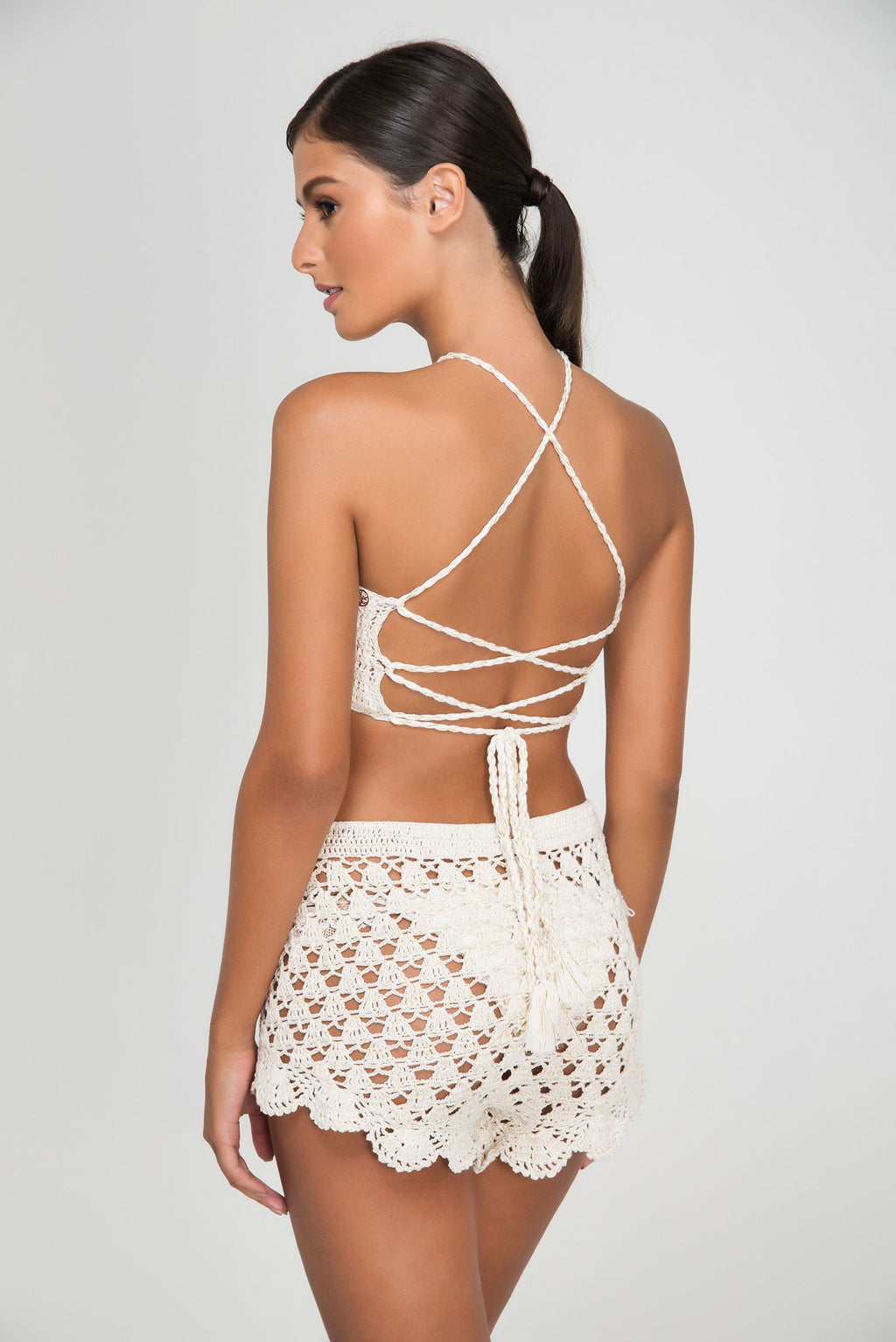 ROSE LACE CROCHET SWEET SHORTS - LE BAIN RESORTWEAR