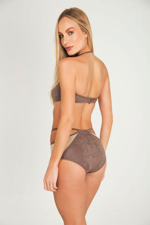 SEA PLUMES SUEDE BANDEAU | BOTTOM  HOTPANT SUEDE BANDEAU - LE BAIN RESORTWEAR