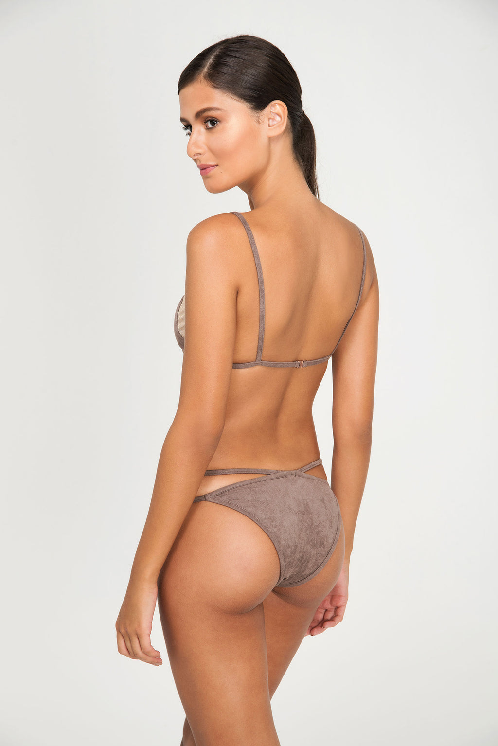 SUEDE PLUME FIXED TRIANGLE TOP | SUEDE PLUME OPTIONAL STRAP THIN BOTTOM - LE BAIN RESORTWEAR