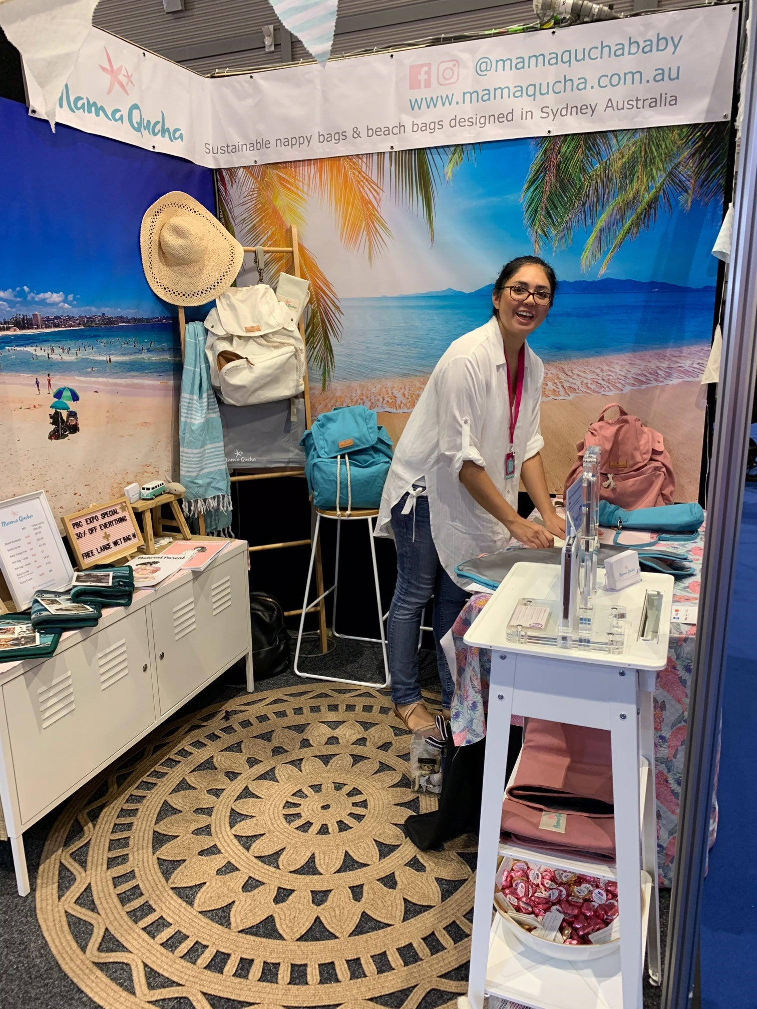 Founder of Mama Qucha at the PBC Expo in Sydney in May 2019