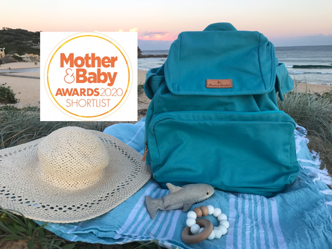 Mama Qucha Nappy Backpack / baby beach bag in turquoise with Mother&Baby Awards 2020 Shortlist logo
