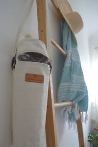 The Mama Qucha insulated bottle carrier / baby bottle holder in waxed white cotton show open