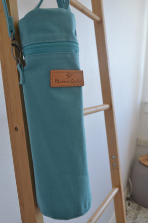 The Mama Qucha insulated bottle carrier / baby bottle holder in turquoise cotton show closed