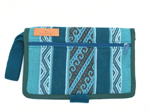 The Mama Qucha Cuzco Clutch | nappy clutch / diaper clutch in dark waves design showing close up of outside zipped pocket
