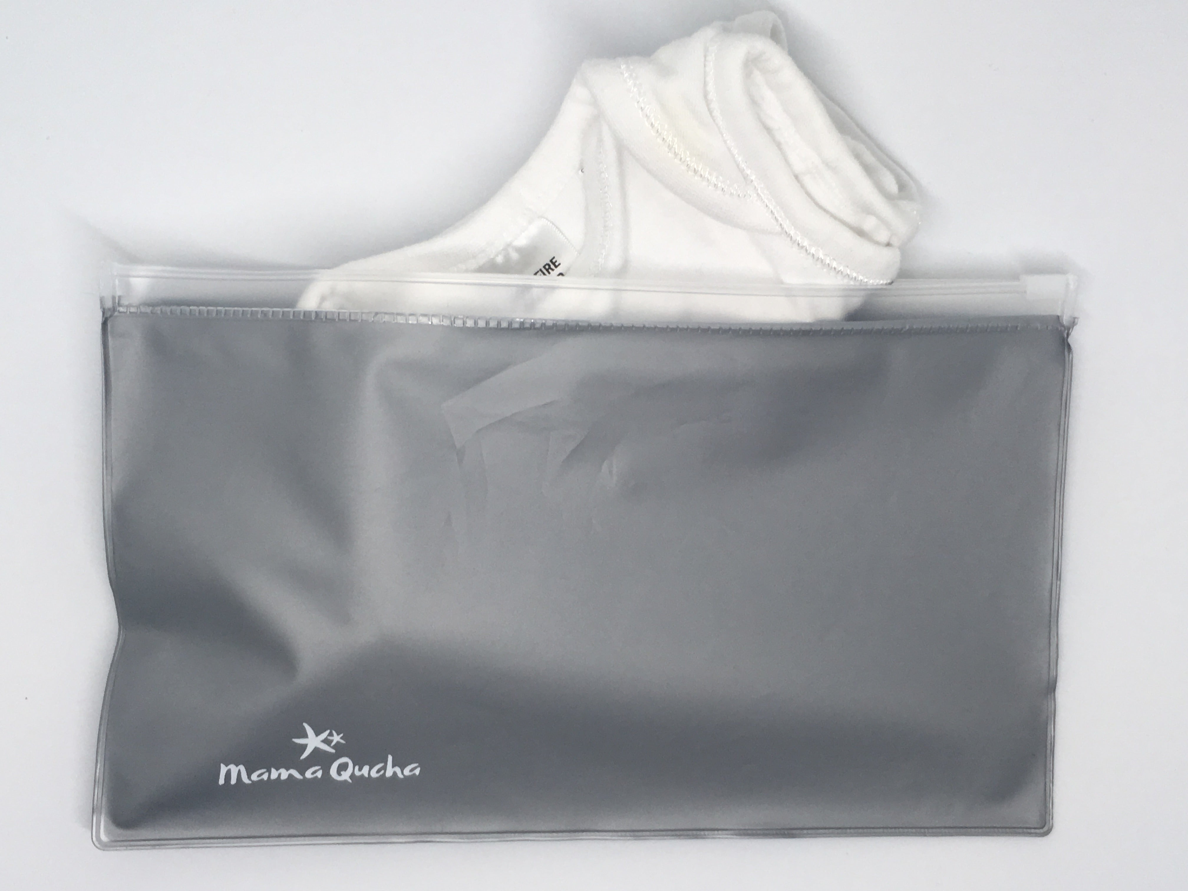 The Mama Qucha small zip lock wet bag is large enough to hold a baby body suit