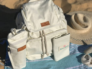 The Mama Qucha Baby Bundle | baby beach bag / diaper bag in white, baby bottle carrier, baby change mat and props