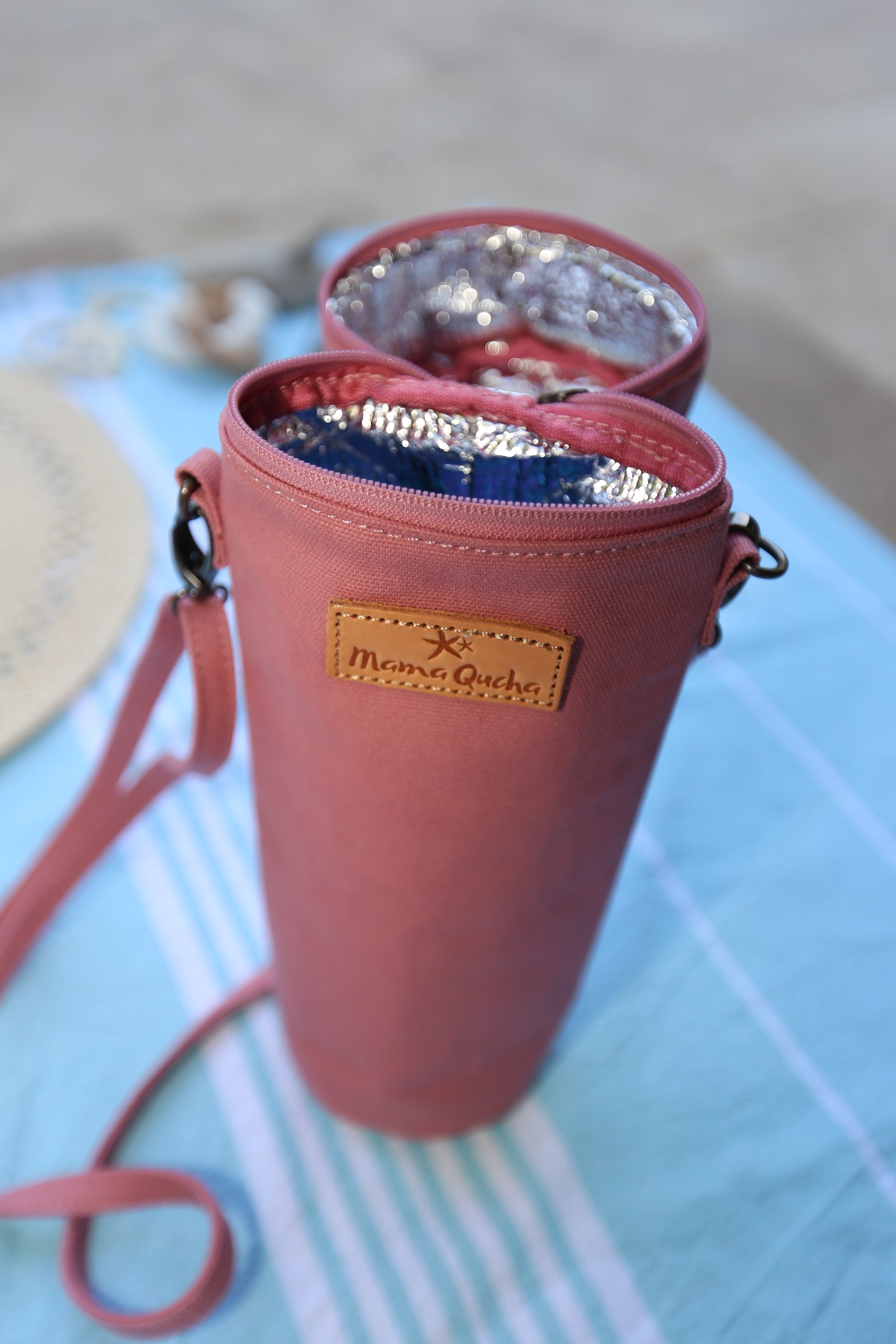 The Mama Qucha insulated bottle carrier / baby bottle holder in pink cotton show open