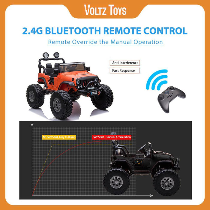 2 Seater 12V Electric Ride-On Lifted Monster Jeep Truck for Kids with Parental Remote Control - Voltz Toys