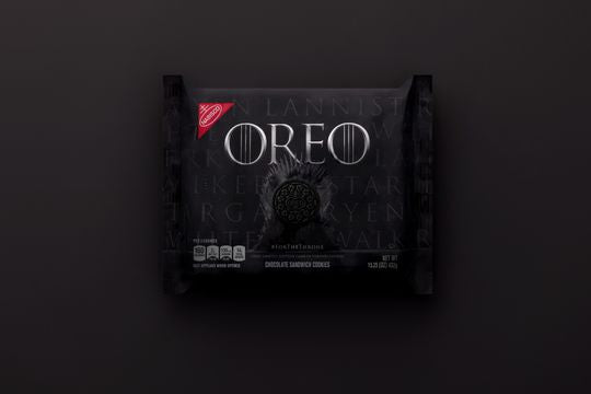 "The packaging for the limited-edition ""Game of Throne"" Oreos uses the same font as the show's logo. (Photo: BEN ROSENZWEIG)"