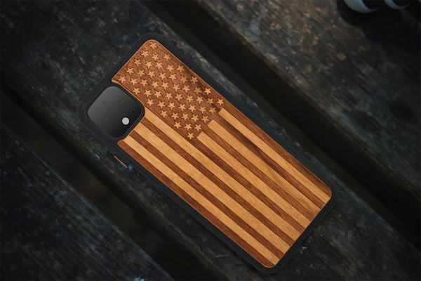 american flag engraved wooden case