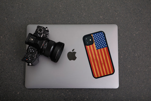 American flag colored wood case