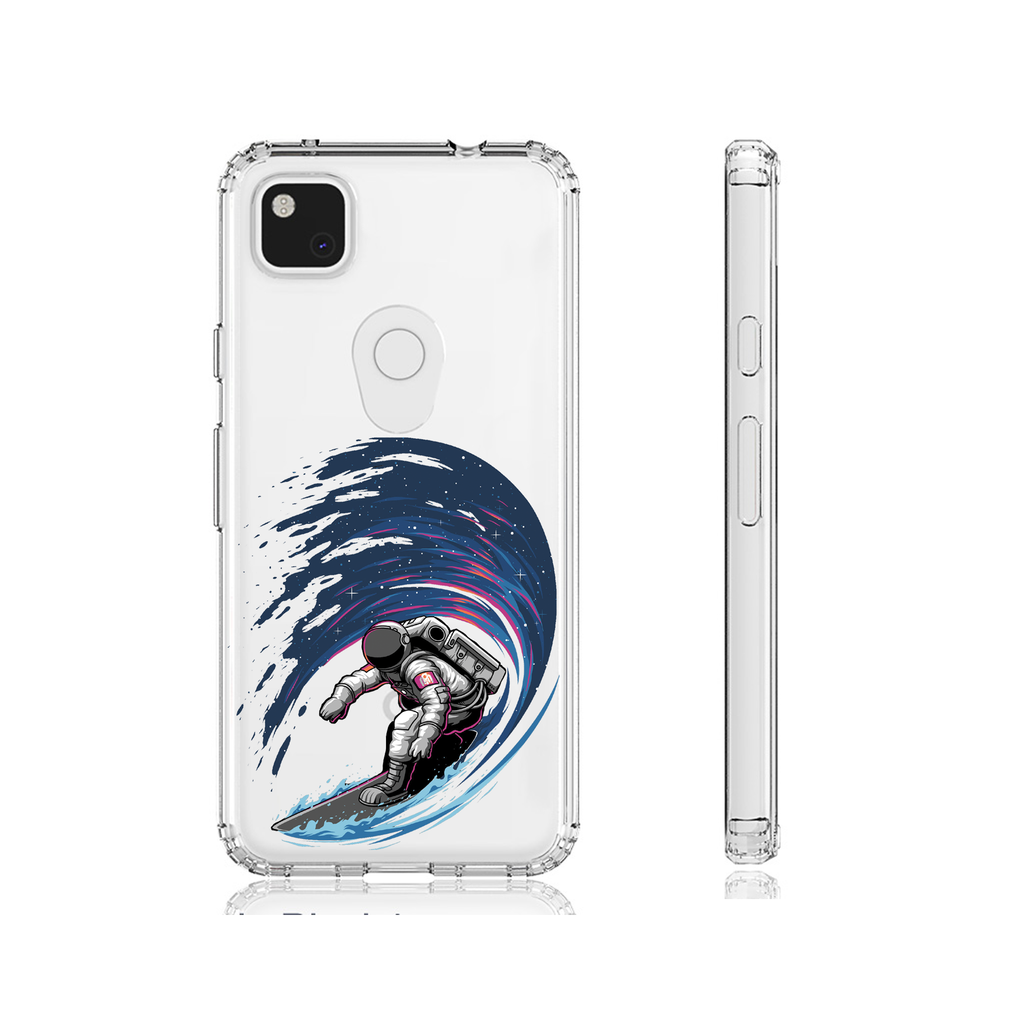 Astro Surfer Clear Phone Case Gift Google Pixel 5 Google Pixel 4A 5G, Pixel 4A Gift for her, Gift for him, Birthday Gift