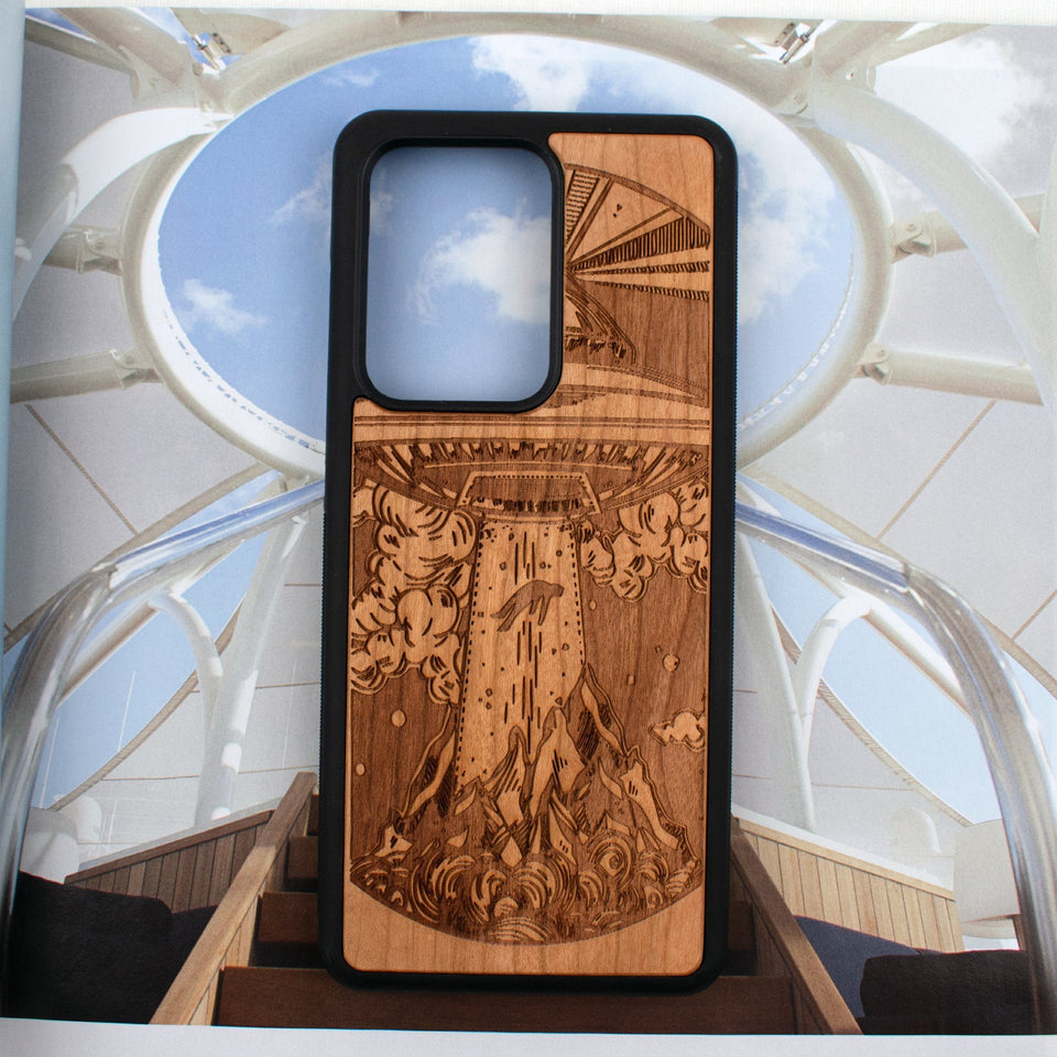 Alien Spaceship Ufo Engraved Unique Samsung Galaxy Wood Case Wooden limited77