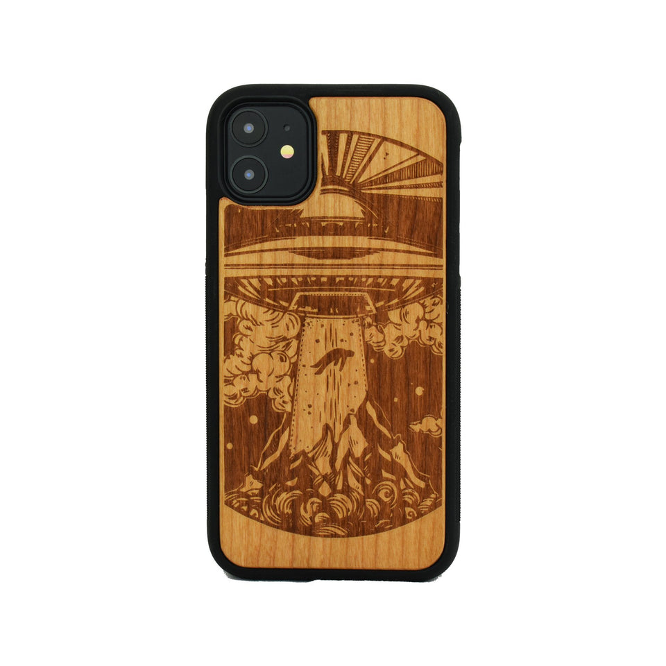 Alien Spaceship Wooden Unique carved phone case for Apple iPhone - LIMITED77