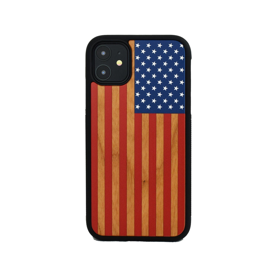 American Flag Colored Wooden Unique Case for Apple iPhone - LIMITED77