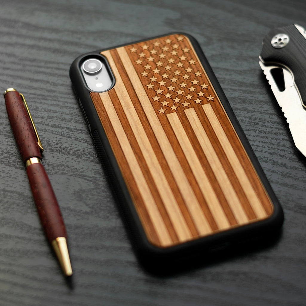 American Flag Engraved Carved Wooden Unique Case for Apple iPhone - LIMITED77