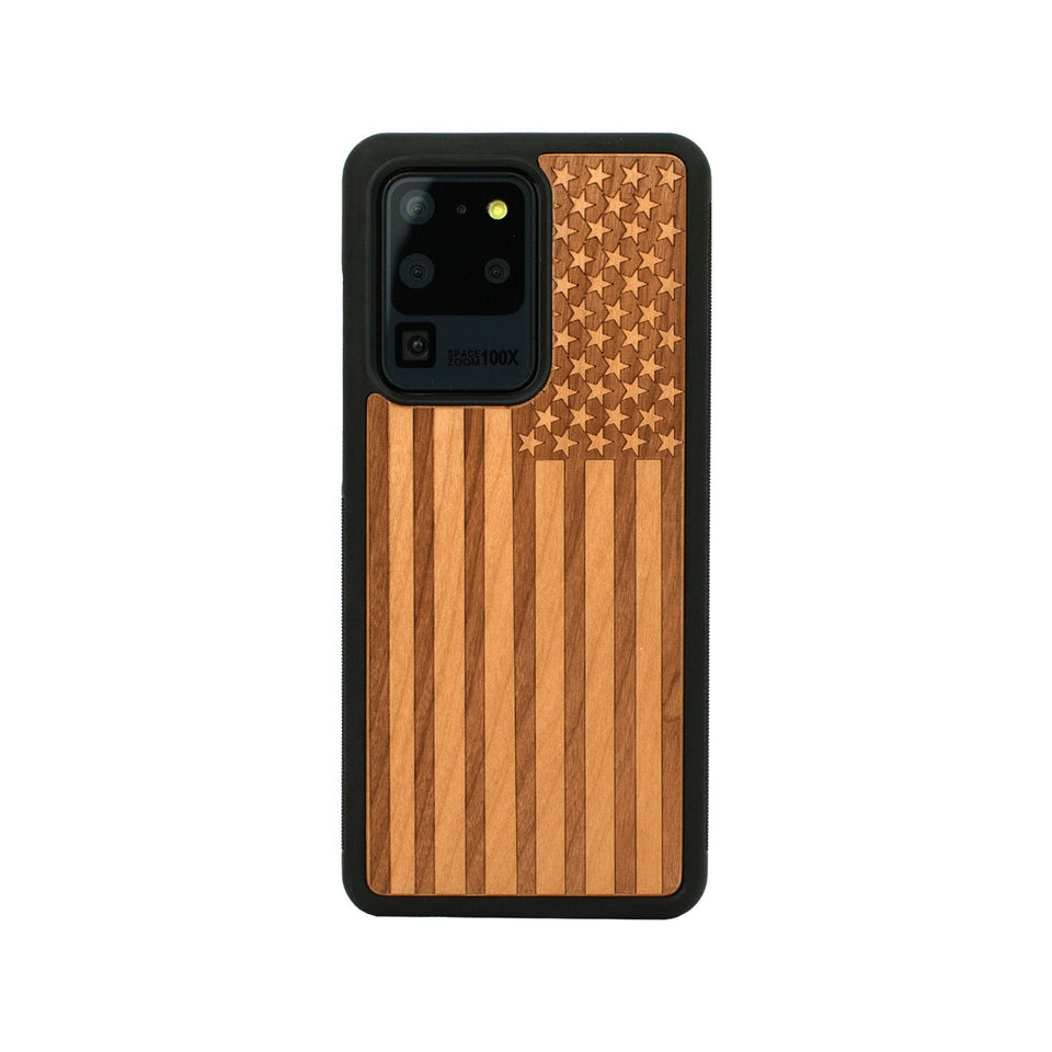American Flag Engraved Unique Samsung Galaxy Wood Case Wooden limited77