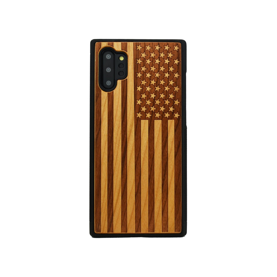 American Flag Engraved Unique Samsung Galaxy Wood Case - LIMITED77