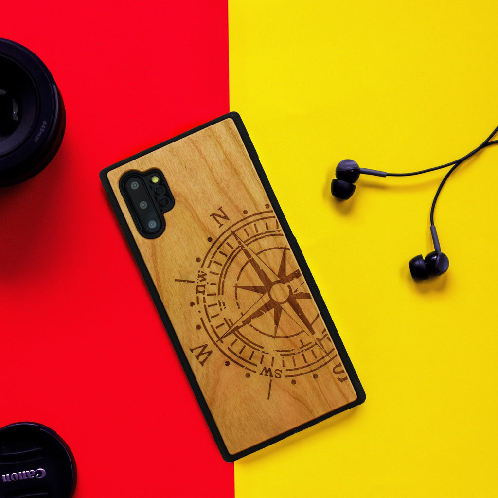 Compass Engraved Unique Samsung Galaxy Wood Case - LIMITED77