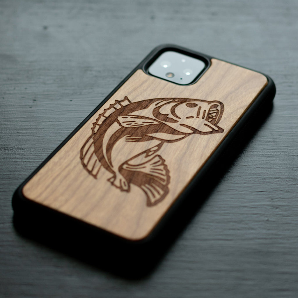 Google Pixel 3, 3 XL, Google Pixel 4, 4 XL Case carved Wooden Bass Design Wooden limited77