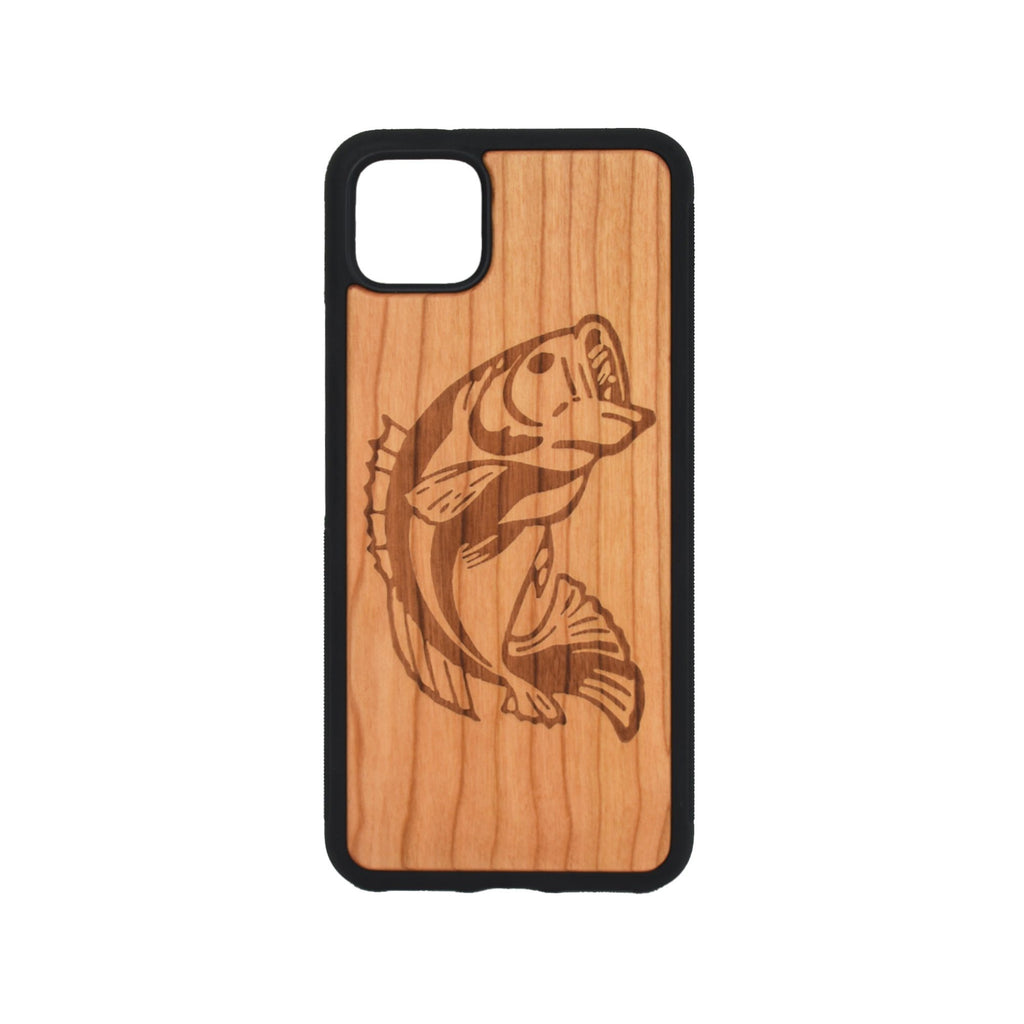 Google Pixel 3, 3 XL, Google Pixel 4, 4 XL Case carved Wooden Bass Design - LIMITED77