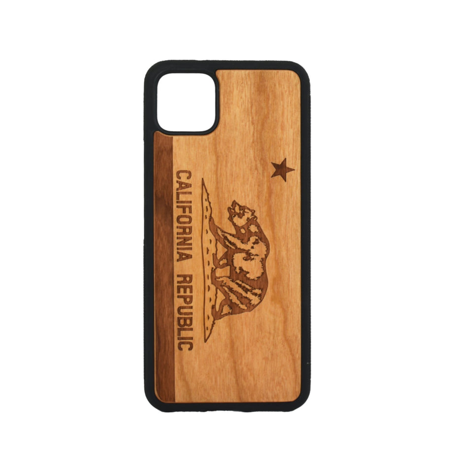 Google Pixel 3, 3 XL, Google Pixel 4, 4 XL Case carved Wooden California Republic Design - LIMITED77