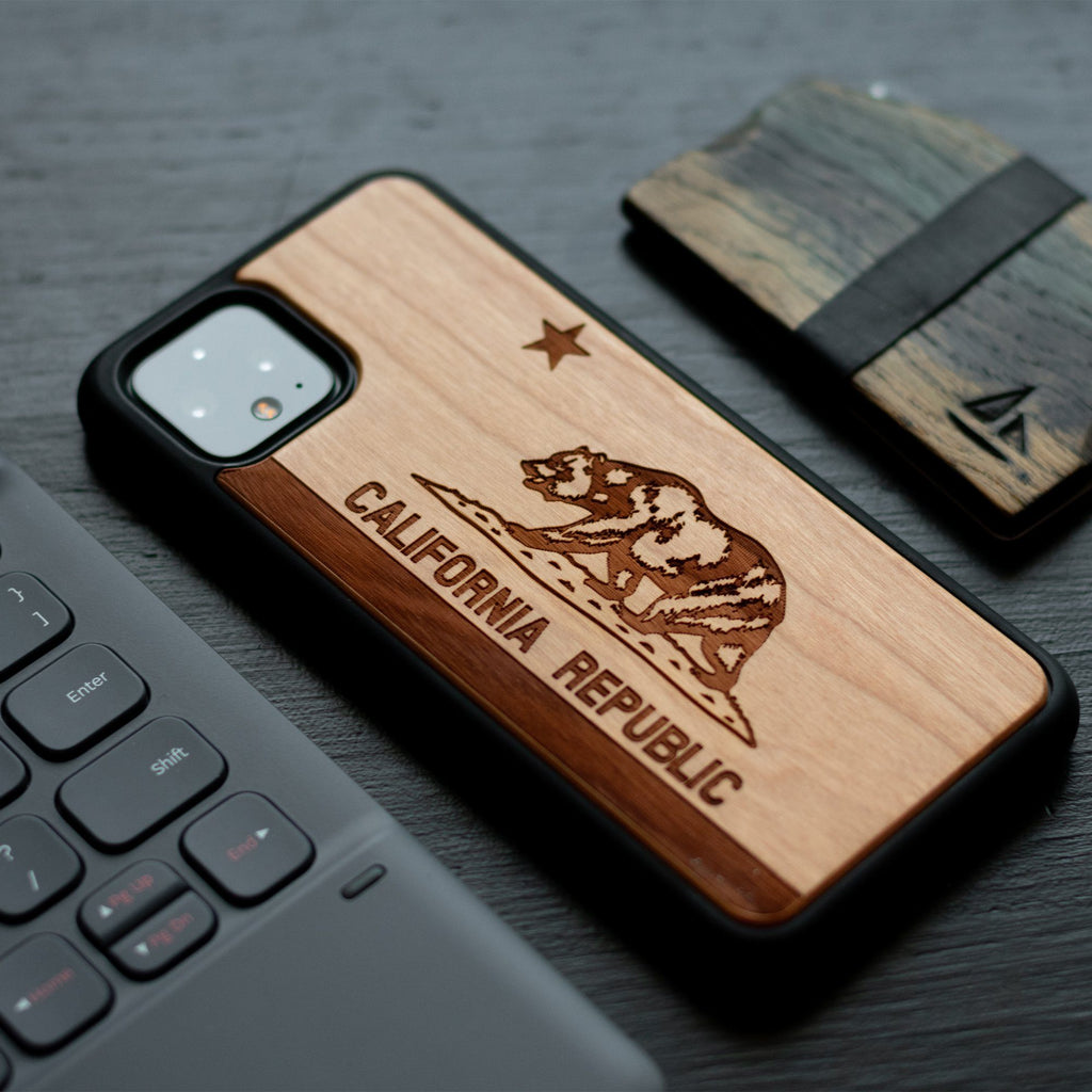 Google Pixel 3, 3 XL, Google Pixel 4, 4 XL Case carved Wooden California Republic Design limited77