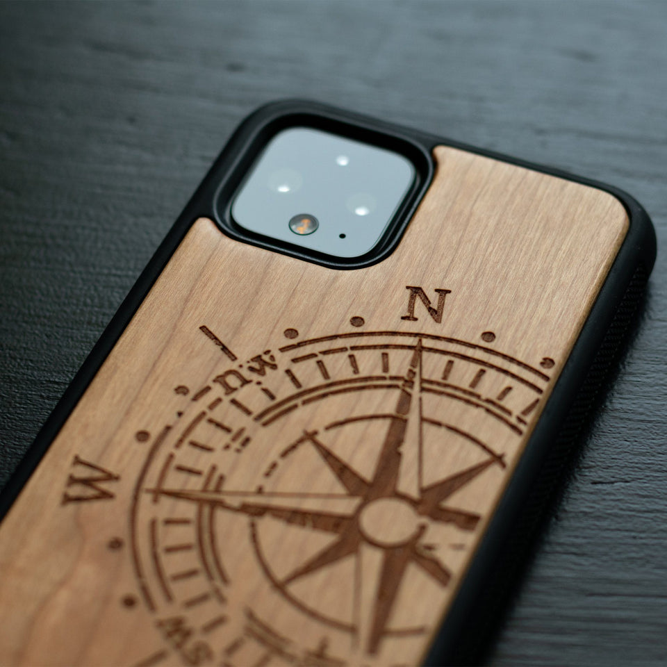 Google Pixel 3, 3 XL, Google Pixel 4, 4 XL Case carved Wooden Compass Design limited77