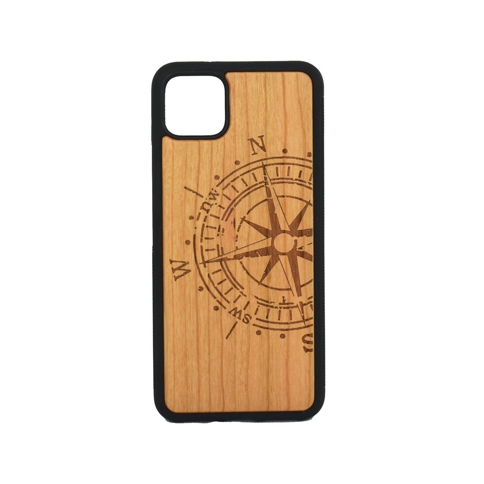 Google Pixel 3, 3 XL, Google Pixel 4, 4 XL Case carved Wooden Compass Design - LIMITED77