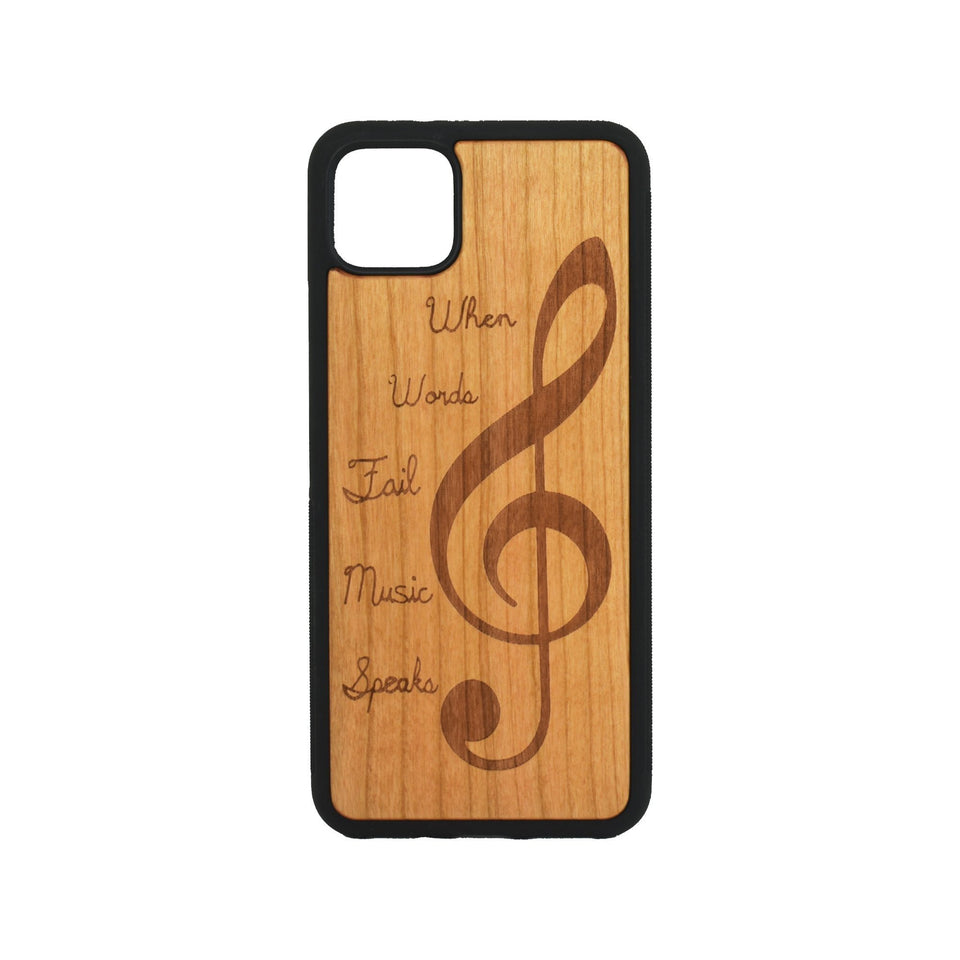 Google Pixel 3, 3 XL, Google Pixel 4, 4 XL Case carved Wooden Engraved Music Design - LIMITED77