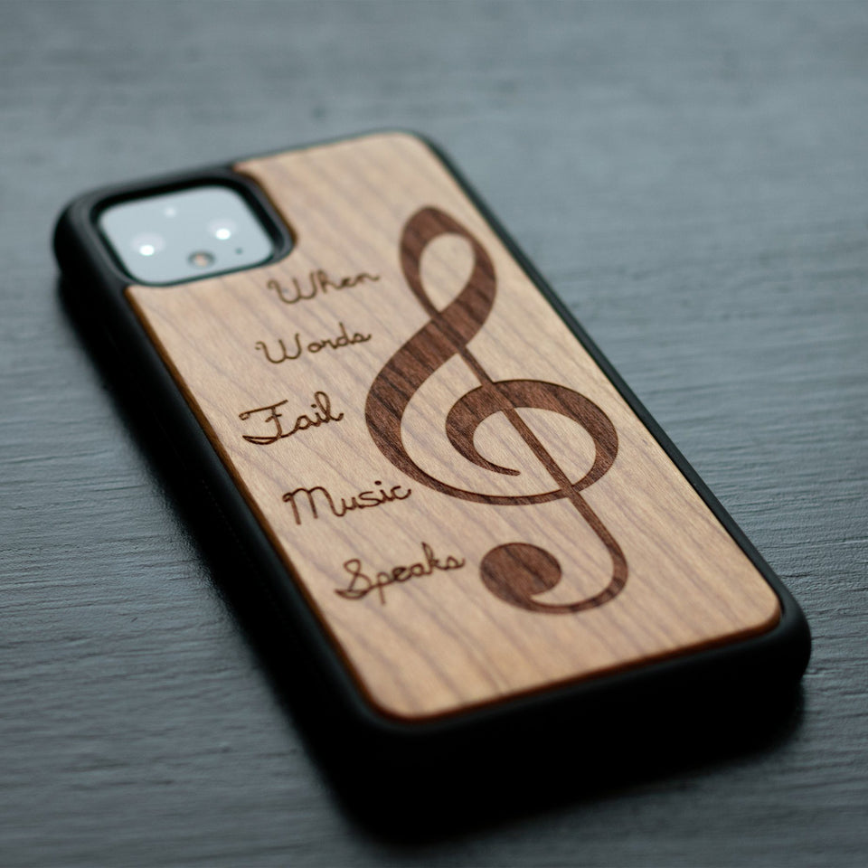 Google Pixel 3, 3 XL, Google Pixel 4, 4 XL Case carved Wooden Engraved Music Design limited77