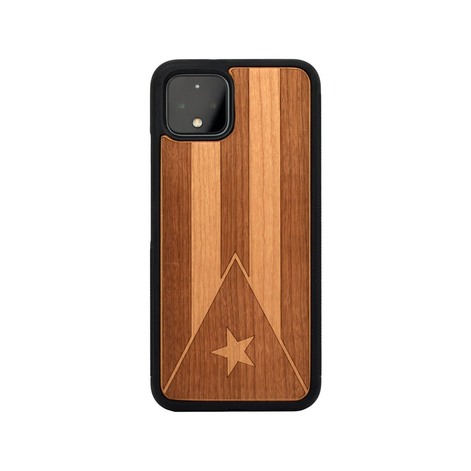 Google Pixel 3, 3 XL, Google Pixel 4, 4 XL Case carved Wooden Engraved Puerto Rico Flag Design limited77