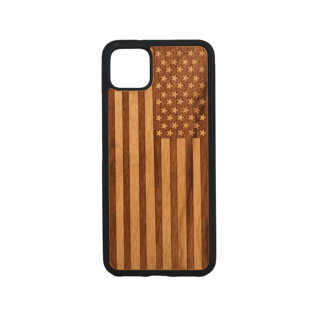 Google Pixel 3, 3 XL, Google Pixel 4, 4 XL Case carved Wooden Engraved USA Flag Design - LIMITED77