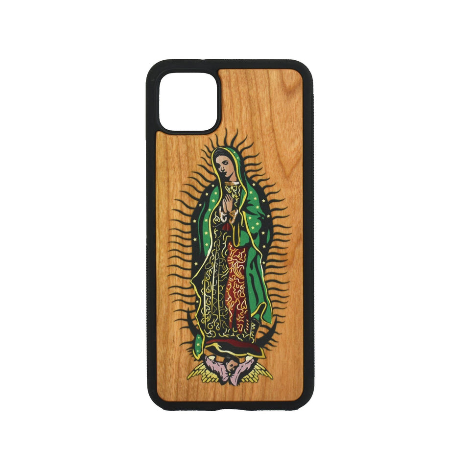 Google Pixel 3, 3 XL, Google Pixel 4, 4 XL Case carved Wooden Guadalupe Design - LIMITED77