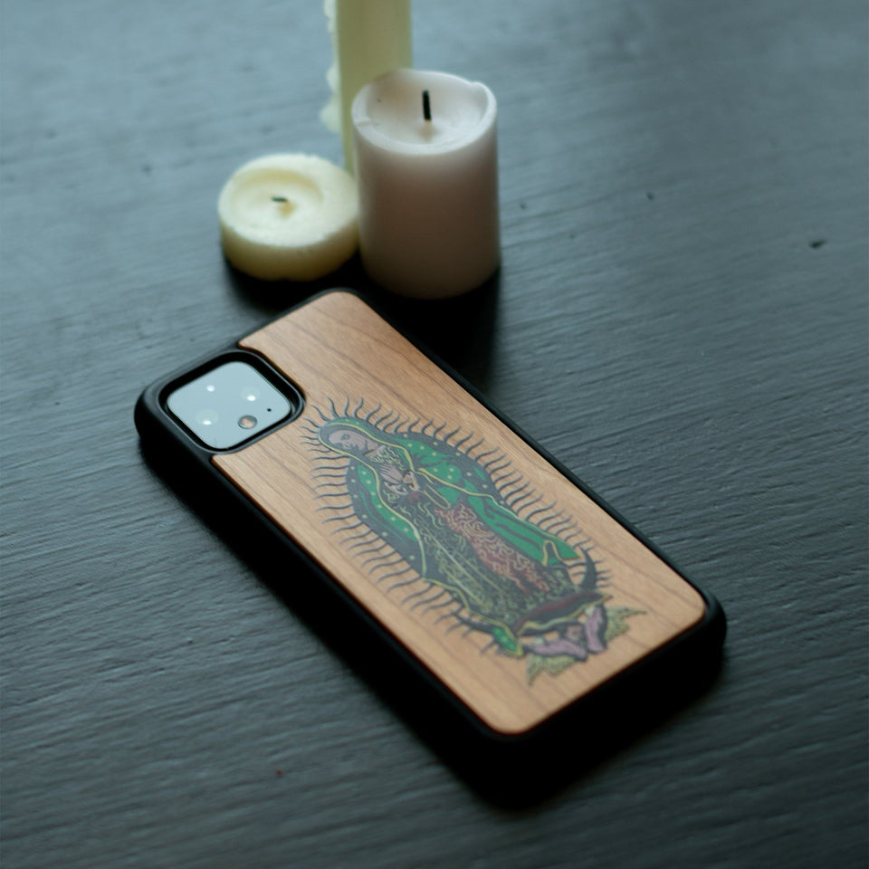 Google Pixel 3, 3 XL, Google Pixel 4, 4 XL Case carved Wooden Guadalupe Design limited77