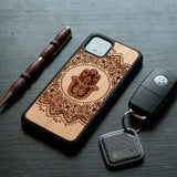 Google Pixel 3, 3 XL, Google Pixel 4, 4 XL Case carved Wooden Hamsa Mandala Hand Design - LIMITED77