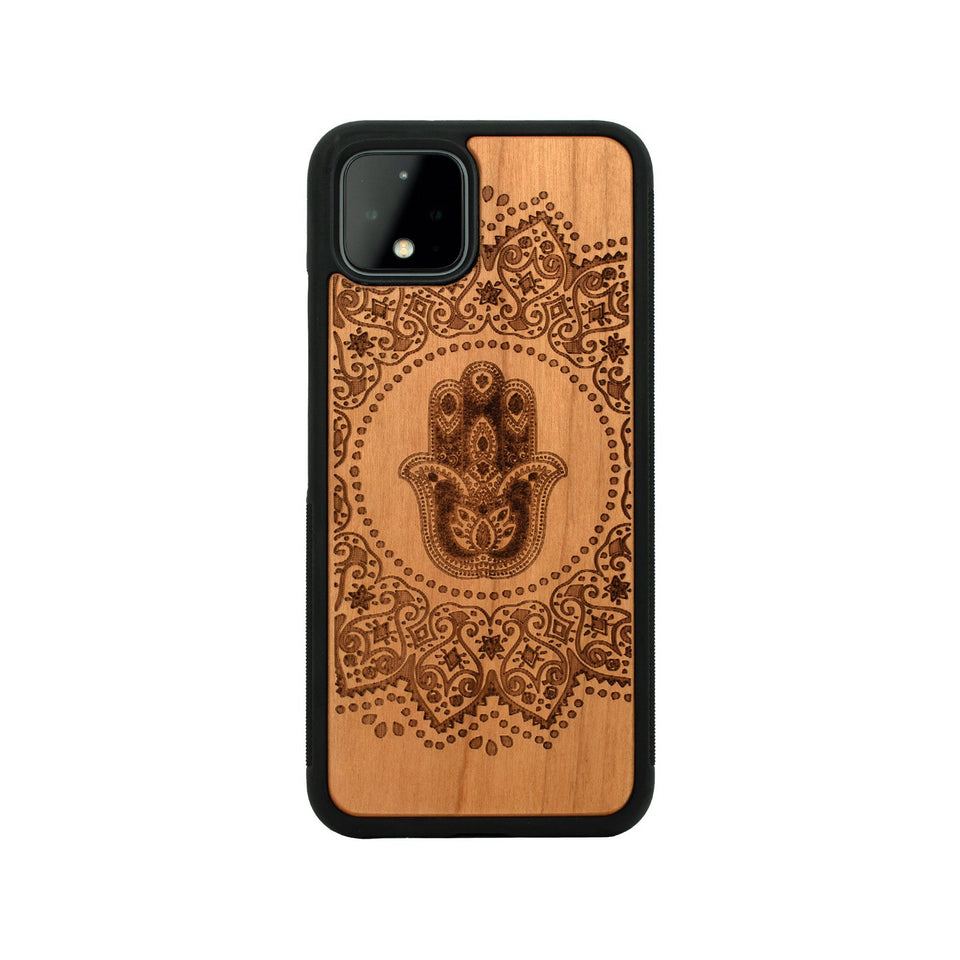 Google Pixel 3, 3 XL, Google Pixel 4, 4 XL Case carved Wooden Hamsa Mandala Hand Design Wooden limited77