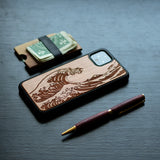 Engraved Wooden Kanagawa Wave Design for Google Pixel - LIMITED77