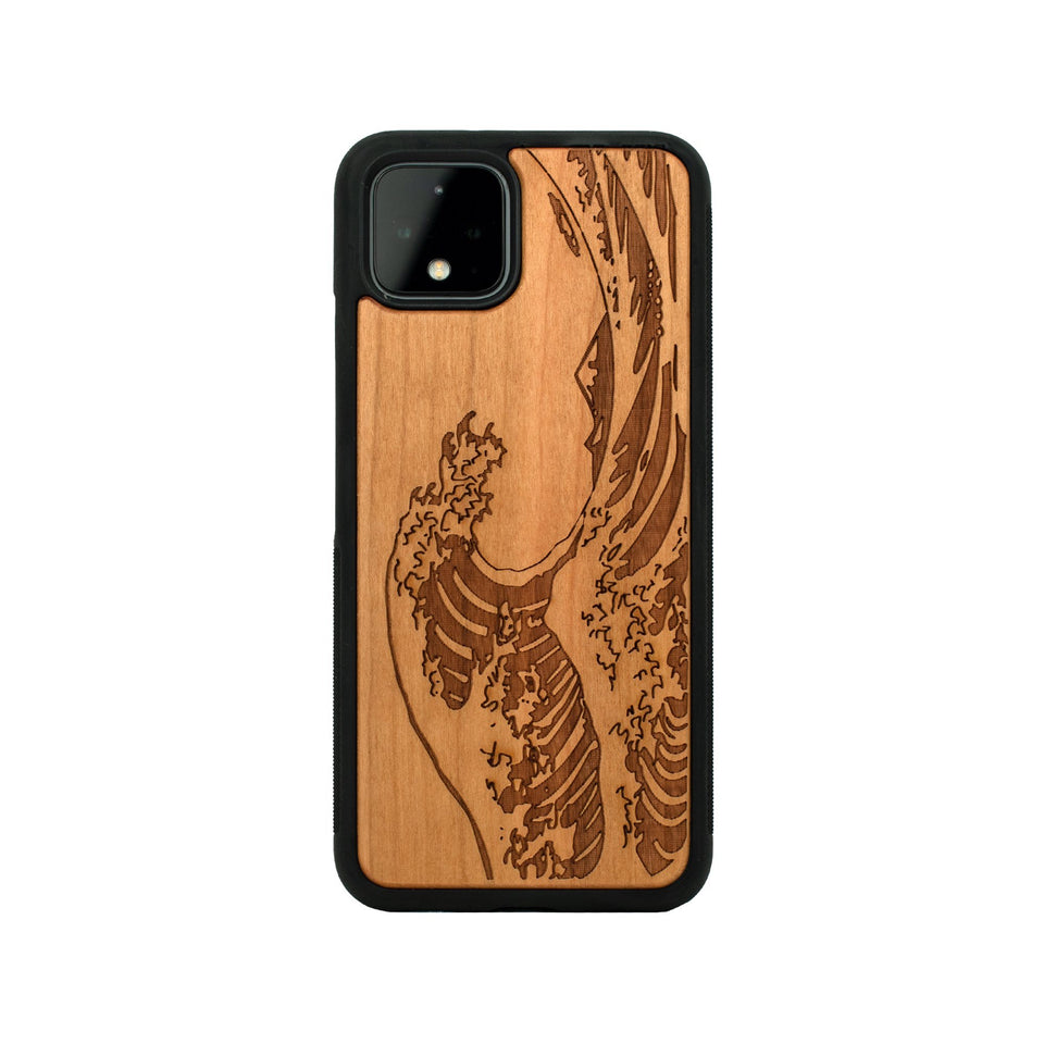 Google Pixel 3, 3 XL, Google Pixel 4, 4 XL Case carved Wooden Kanagawa Wave Design Wooden limited77