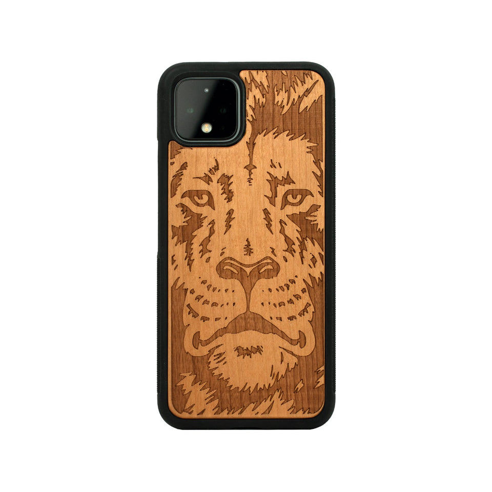 Google Pixel 3, 3 XL, Google Pixel 4, 4 XL Case carved Wooden Lion Face Design limited77