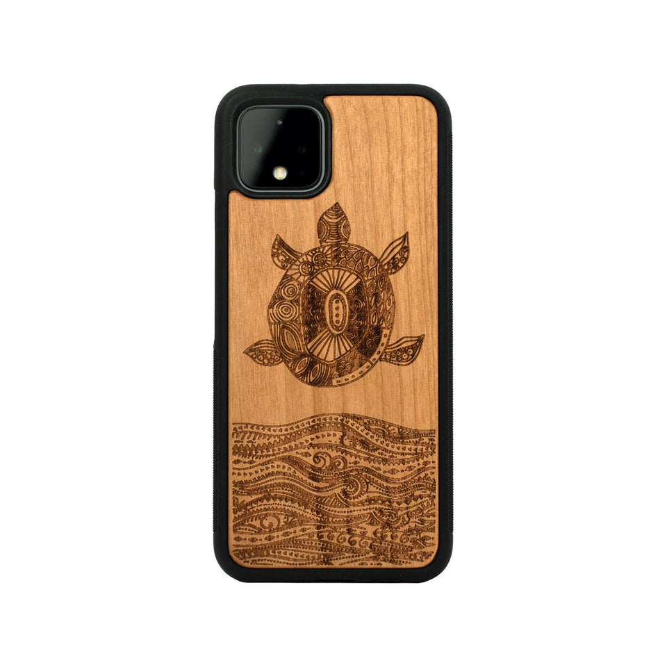 Google Pixel 3, 3 XL, Google Pixel 4, 4 XL Case carved Wooden Sea Turtle Design Wooden limited77