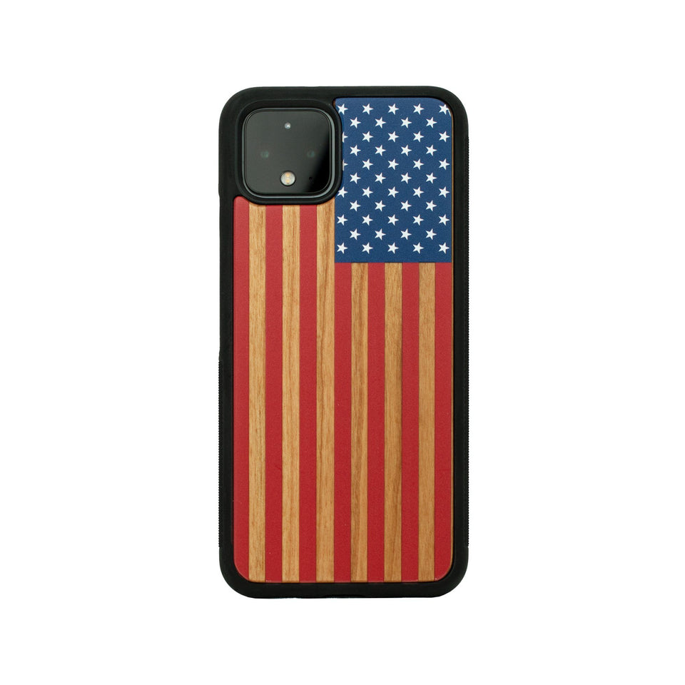 Google Pixel 3, 3 XL, Google Pixel 4, 4 XL Case Wooden Colored USA Flag Design limited77