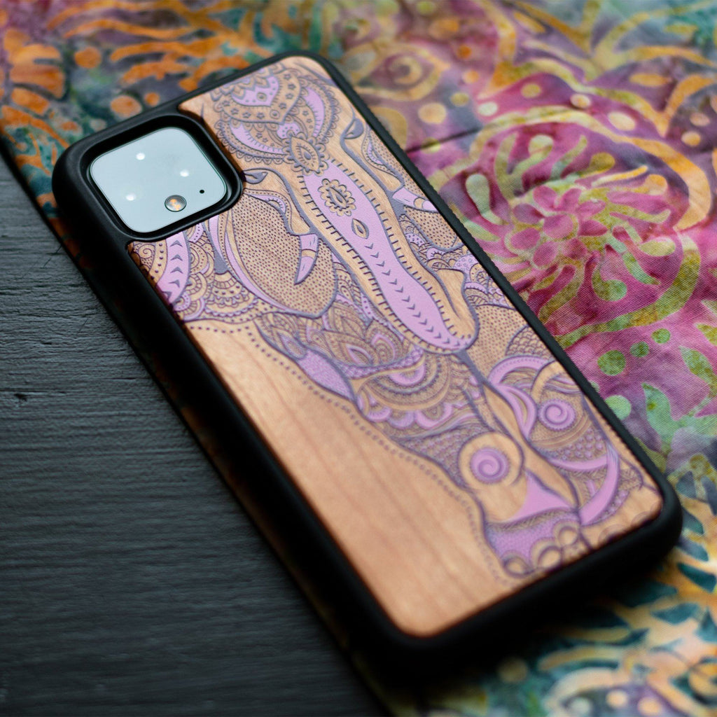 Google Pixel 3, 3 XL, Google Pixel 4, 4 XL Case Wooden Elephant Design limited77