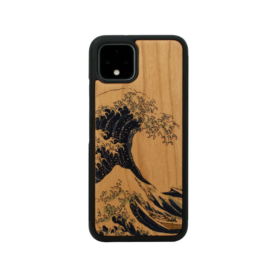 Google Pixel 3, 3 XL, Google Pixel 4, 4 XL Case Wooden Kanagawa Waves Design limited77