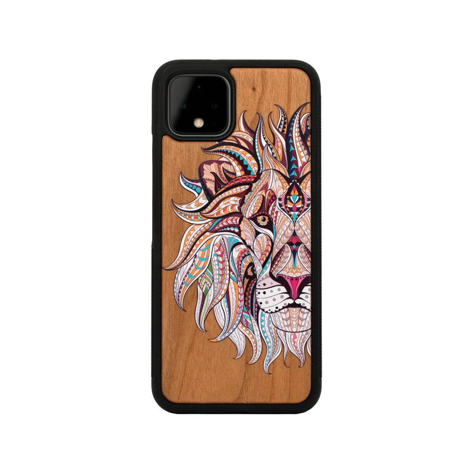 Google Pixel 3, 3 XL, Google Pixel 4, 4 XL Case Wooden Lion Design limited77