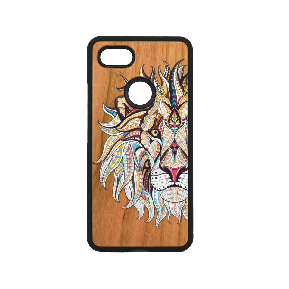 Google Pixel 3, 3 XL, Google Pixel 4, 4 XL Case Wooden Lion Design - LIMITED77